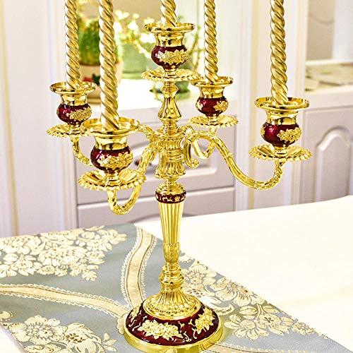 Weihnachts-candlelight-lampen (YXSHHHL Nordic Retro Kerzenständer Kerzenhalter Candlelight Dinner Requisiten romantische Lampe (Kopie) @Golden Red Rubber fünf Köpfe)