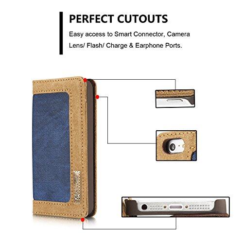 YHUISEN iPhone SE/5S/5 Case, [Denim Series Wallet Case] Premium Canvas Denim Flip Folio Schutzhülle mit Ständer für iPhone SE/5S/5 ( Color : Red ) Blue