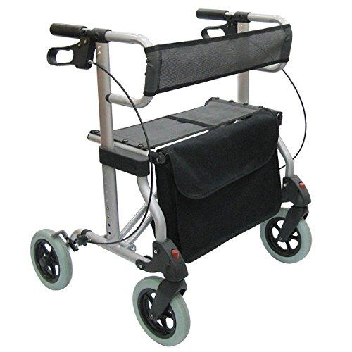 FabaCare Premium Leichtgewicht-Rollator XXL Set G-227 Aluminium, höhenverstellbar, faltbar, mit Sitz, Rückengurt, Tasche, Gehwagen, Rollwagen, Alurollator, bis 227 kg, mit FabaCare Sicherheitsreflektoren