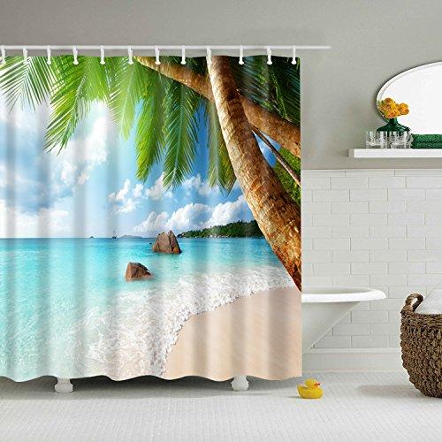 Designer Inspirierte Plaid (Duschvorhang Tropical Coco Beach Reef 12 Haken Bad Dekorationen Badezimmer Dekor Sets mit Haken Hochzeit Geschenke für Kunstdruck Polyester Stoff)