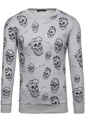 BOLF Herren Sweatshirt Langarmshirt Pullover Longsleeve Classic Mix 1A1 Grau_1623