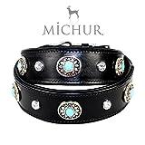 MICHUR Alonzo Hundehalsband Leder Schwarz Breit, Lederhalsband, Halsband, Blaue Steine MIT RUNDNIETEN, in verschiedenen Größen erhältlich