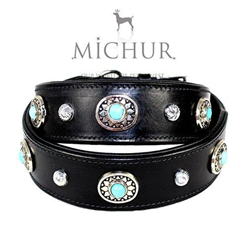 MICHUR Alonzo Hundehalsband Leder Schwarz Breit, Lederhalsband, Halsband, Blaue Steine MIT RUNDNIETEN, in verschiedenen Größen erhältlich -