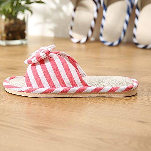 Eastlion Frauen und Mädchen Home Floor Soft Indoor Anti-Rutsch Flachs Streifen Bogen Hausschuhe Schuhe Rote + weiße Streifen