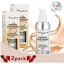 TLM Concealer Cover, TLM 30ml Base de cambio de color impecable, Base líquida de larga duración para mujeres niñas, Base de maquillaje de base de cambio de color impecable, 2 paquetes (nude)