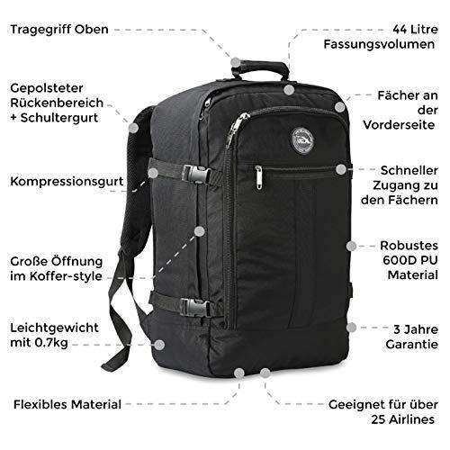 Cabin Max Handgepäck Rucksack 44 Liter - Leichtgewicht Reiserucksack für das Flugzeug Bordgepäck 55x40x20 cm - Robuster & praktischer Backpack - Hochwertiger Kabinenkoffer (Stereo)