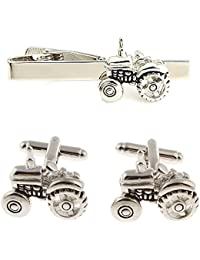 Silver coloured Tractor cufflinks and tie clip