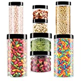 Makone Vaso de plástico con Tapa Botes de Polietileno Alimentario Recipiente Pet con Tapa de Rosca para Alimentos, Transparente Botes Cocina Recipientes Slime Contenedor-8 Pack