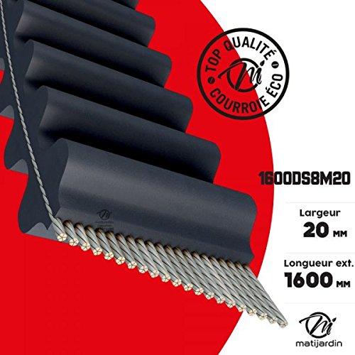 Courroie tondeuse Double Denture 1600DS8M20 prix éco- 20 mm x 1600 mm - Pièce neuve