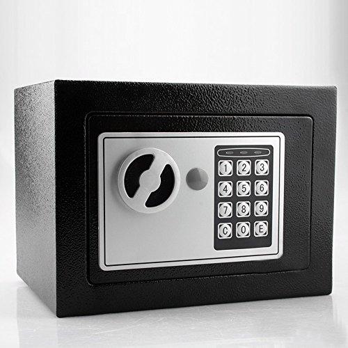 Esclusiva Cassaforte blindata compatta con serratura elettronica con 2 chiavistelli e cerniere a scomparsa antiscasso - per fissaggio con incasso a muro, al pavimento, per essere nascosta in uno scaffale, mobile, in un armadio, da parete o pareti - funziona con combinazione numerica tramite tastierino digitale e con 2 chiavi di sicurezza di emergenza – piccola safe box elettrica combinatore elettronico con chiusura doppio pistone ideale per camere d'albergo, hotel, b&b, casa o ufficio (Nero)