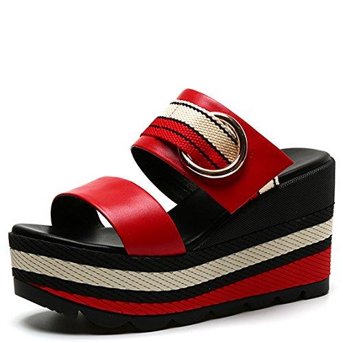 Glissade avec sandales Chaussons Chaussures en mode été Chaussures à talons hauts Chaussures (2 couleurs en option) (taille facultative) ( Couleur : A , taille : 39 ) A