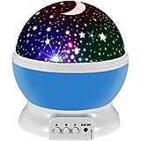 Lampada di Illuminazione Notturna,Sunvito Rotante Stella Luna Cielo Proiettore per Bambini,Camera da Letto(4 Perle Luminose LED,3 Luci di Modalità,Powered by DC5V/AAA Batteria e Cavo USB)(Blu)