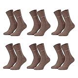 Piarini Business-Socken Anzugsocken ohne Gummi Baumwolle Herren | Herrensocken 6er braun-melange 39-42