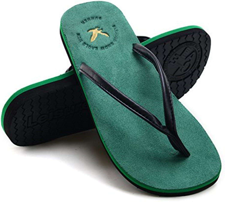 QIDI Sandalen Gummi PU Sommer Rutschfeste Beiläufige Flache Unterseite Strandschuhe (Farbe : Grün  größe : EU43