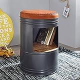 FineBuy Sitzhocker Rani mit Stauraum 40 x 60 x 40 cm grau Sitztonne Retro | Design Polsterhocker Metallhocker hoch | Hocker rund Metall/Holz/Leder | Runder Dekohocker