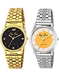 Pappi Boss - PACK OF 2 - Sober Golden & Silver Chain Wrist Watch For Mens, Boys