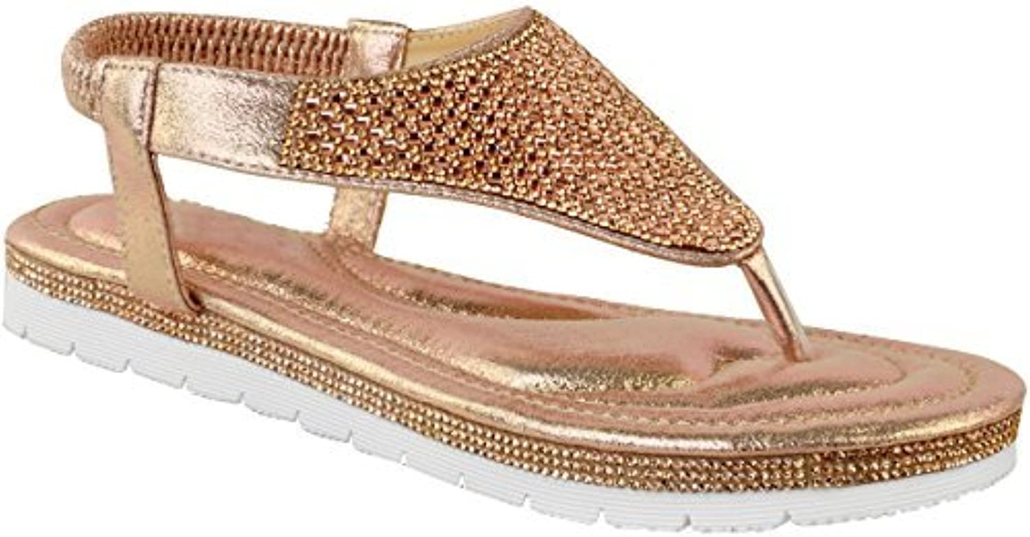 f0f9638199ed Heelberry® Womens Ladies Flat Low Low Low Wedge Diamante Summer Sandals  Embellished Low Heel Size
