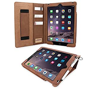 Snugg Leather Flip Stand Cover with Protective Premium Nubuck Fibre Interior for the Apple iPad iPad 3/4 Brown - Distressed Brown