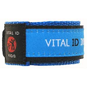 Child ID Safety Wristband. Store Your Contact Info plus Your Child's Allergy and Medication Information. Updateable. Waterproof. Adjustable. Robust. Winning Child Identity Bracelet Design from Vital ID. Assorted Colours. (Blue)