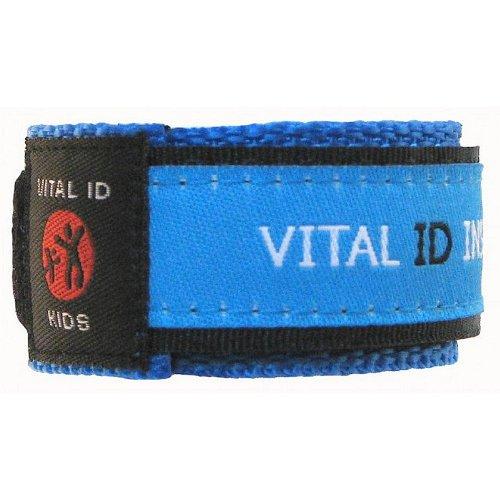 Erkennungs-Armband für Kinder, Armband für Kontakt-, Krankheits- und Allergie-Informationen sowie Mobilfunknummer, ergänzbar, wasserdicht, verstellbar (in englischer Sprache), blau