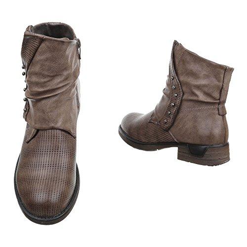Damen Schuhe Leicht Gefütterte Biker Boots Reißverschluss Boots / Bikerboots Stiefeletten Blockabsatz Braun Grau