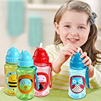 Calli Baby Kid Lovely Zoo Cartoon Animal Straw Cup Water Bottle Non-toxic BPA-Free Drinking Cup