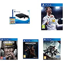 PlayStation 4 (PS4) - Consola De 500 GB, Color Negro + Voucher ¡Has Sido Tú! + FIFA 18 - Edición estándar + Call Of Duty WWII + Destiny 2 - Edición Estándar + Uncharted: El Legado Perdido