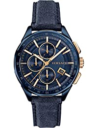 80d6d977a4b4 Versace pour Homme Swiss Montre chronographe avec Bracelet Cuir Bleu Glaze  Vebj00318