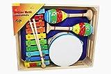Kinder Musik-Set Xylophon/Glockenspiel, Tamburin und Rasseln - 3878
