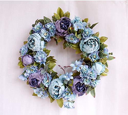 SYT Christmas Blumenkranzdekoration der Girlandenpäonie künstlichen Kranzes hängende, florales Feiertagsdekor, Retro- Blau -