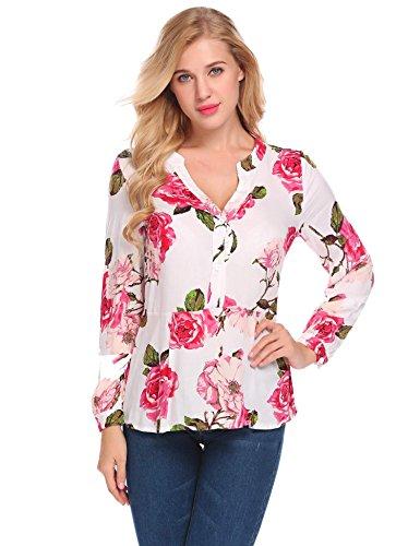 Zeela Damen Langarm Blumen Bluse Hemd Tunika V Ausschnitt Langarmshirt Oberteile Tops für Herbst und Frühling Weiß