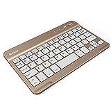 Guanwen Drahtlose Bluetooth-Tastatur, Ultradünne tragbare Bluetooth-Funktastatur für Bluetooth iPad, iPhone, Android, Samsung Galaxy Tab, Windows , Mac OS (Farbe : Gold)