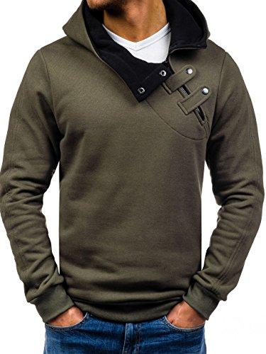 BOLF Herren Kapuzenpullover Sweatshirt Hoodie Pullover Sweatjacke Sportsweastshirt Mix 1A1 Khaki_06S