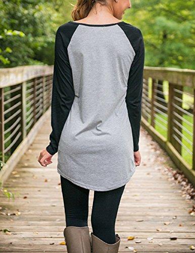 Sitengle Damen Langarmshirt T-Shirt Casual Lose Multicolor Rundhals Lässig Basic Langarm Bluse T shirt Tops Grau