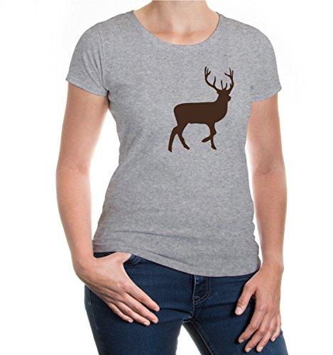 buXsbaum® Damen Kurzarm Girlie T-Shirt bedruckt Rothirsch | Edelhirsch Jagd Wildtier | S heathergrey-brown Grau