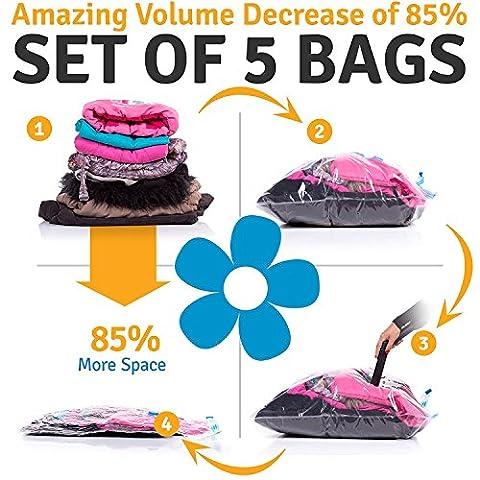Sacs de Rangement Sous Vide Avec Motif Floral - Économiseurs d'espace (lot de 5) - Packs de compression pour Vêtements, Couette, Couverture ou pour stocker des serviettes - Idéal pour faire votre sac de