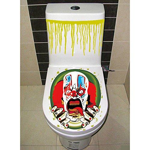 Lanlan Halloween gruselige Badezimmer WC-Sitz Deckel und Spülkasten Aufkleber Closestool Abdeckung Party Dekoration (Peanuts Halloween Dekoration)