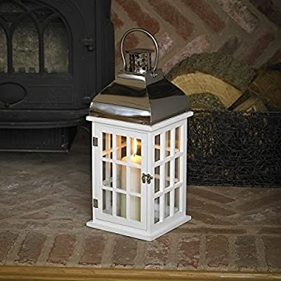 Garden Mile® Large 50cm Vintage White Wooden Shabby Chic Hurricane Candle Lanterns Hanging Glass Candle Holder Patio Storm Vase Table Lantern Or Window Centrepiece Indoor Or Outdoor For Votive Pillar And Church Candles by Garden Mile®