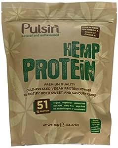 Pulsin' Unflavoured Hemp Protein Powder 1kg | 51% Protein | Natural |Vegan | Gluten Free | Soya Free | Dairy Free
