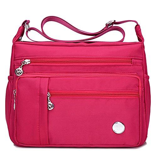 Moonbuy le donne casuale multi tasca Borsa a tracolla impermeabile Rosa