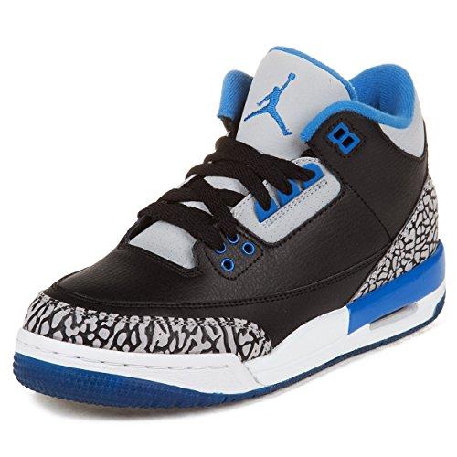 Nike Jungen Air Jordan 3 Retro BG Turnschuhe, Schwarz/Blau/Grau (Schwarz/Sport Blau-Grauer Wolf), 38 1/2 EU (Schuhe In Jordan Air Jungen)