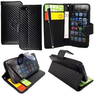 For Apple Iphone 5 5s Black Carbon Fibre 3D Texture Book Type PU Leather Magnetic Flip Case Cover + Stylus + Guard