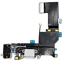 SMARTEX Conector de Carga de Repuesto marca compatible con iPhone 5S Blanco – Dock de repeusto con Cable Flex, Altavoz, Antena, Micrófono y Conexión Botón de inicio.