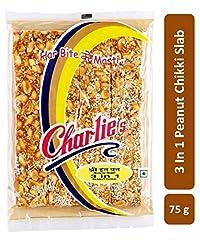 Charliee 3-in-1 Peanut Chikki Candy Bars - Slab Chikki - Groundnut Jaggery Chikki - High Protein - Healthy Indian Sweet 75 g Each - Pack of 7