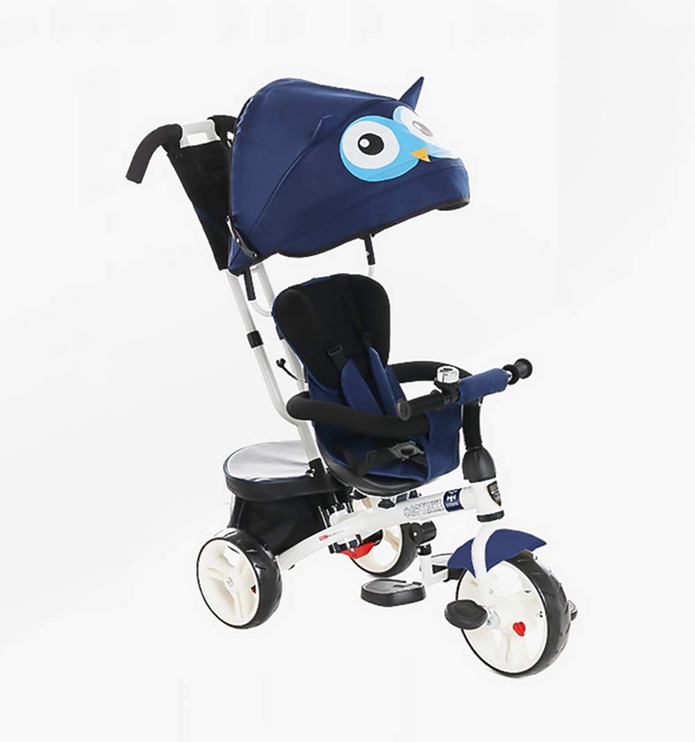 GHDE& 4 in 1 Toddler Trike Kids Tricycle with Sun Canopy, Back Storage and Removable Parent Handle Fit from 6 Months to 6 Years Max Load 30kg,Blue  4 IN 1 TRIKE: This is a growing with your child innovative kid trike, it follows with your baby's growing up and can be a baby bike, baby walker, or trike with parent pushing rod and canopy. Comfort for Kids: The large and retractable canopy provides ample shade, comfortable backrest and folding footrest to provide maximum comfort to your children. 5-point safety belts and safety fence ensure more safety for your baby. This tricycle is the best choice as an outdoor companion for children from 12 months to 5 years. CE & USA ASTMF certification, Maximum load bearing: 30 kg, Recommended height: 85-120 cm. 1