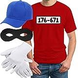 Panzerknacker Banditen Bande Herren Kostüm Shirt + MÜTZE + Maske + Handschuhe T-Shirt Medium Rot