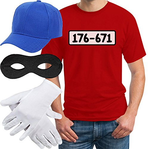 Panzerknacker Banditen Bande Herren Kostüm Shirt + MÜTZE + Maske + Handschuhe T-Shirt Large Rot