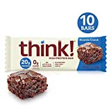 thinkThin High Protein Bars, Brownie Crunch, 2.1 Ounce (pack of 10)