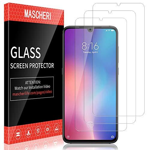 MASCHERI Schutzfolie für Xiaomi Mi 9, Xiaomi Mi 9 Panzerglas [3 Stück] [Fingerabdruck-ID unterstützen] Xiaomi 9 Displayschutz Glas Displayschutzfolie [Lebenslanger Ersatz Garantie] Glas 9