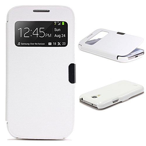 Urcover® View Case Handy Schutz-Hülle | Samsung Galaxy S4 Mini | Hart Kunststoff Weiss | Elegant Wallet Cover Sicht-Fenster | leichte Schale dünne Tasche (Entsperrtes Galaxy Samsung S4)